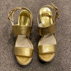 Michael Kors gold wedge sandals